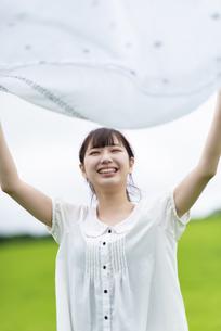 草原で敷物を広げる女性の写真素材 [FYI04728863]