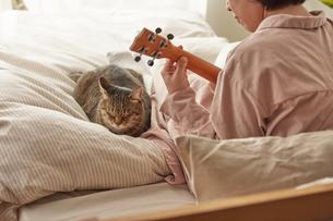 ウクレレを弾く女性と猫の写真素材 [FYI04728881]