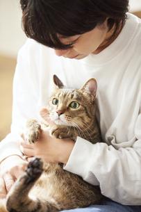 人に抱きかかえられている猫の写真素材 [FYI04728897]