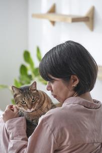 人に抱きかかえられている猫の写真素材 [FYI04729027]