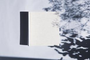 植物の影と生成りの生地のフォトアルバムの写真素材 [FYI04729398]