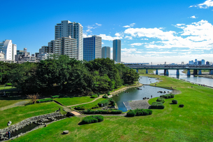 快晴の二子大橋から 多摩川河川敷の兵庫島公園の写真素材 [FYI04729488]