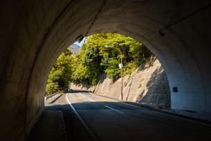 【ドライブ】トンネルの中からみる山の中の車道 交通イメージの写真素材 [FYI04729500]