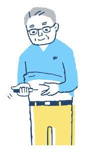 インスリンの自己注射をする男性のイラスト素材 [FYI04729586]