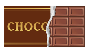 包装を破いた板ミルクチョコレートのイラストのイラスト素材 [FYI04730026]