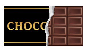 包装を破いた板ビターチョコレートのイラストのイラスト素材 [FYI04730027]