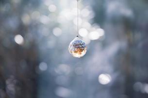 美しいガラスのクリスタルのサンキャッチャーの飾りがある窓辺の写真素材 [FYI04730096]