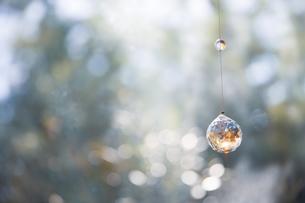美しいガラスのクリスタルのサンキャッチャーの飾りがある窓辺の写真素材 [FYI04730101]