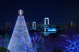東京 お台場 クリスマスツリーとレインボーブリッジの写真素材 [FYI04730196]