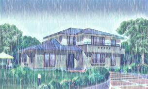 邸宅にどしゃぶりの雨のイラスト素材 [FYI04730326]
