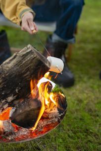 焚き火でマシュマロを焼く男性の手元の写真素材 [FYI04730661]