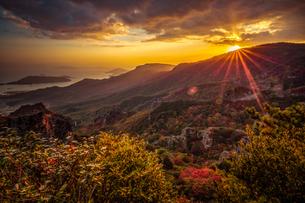 【香川県 小豆島】夕方の秋の寒霞渓の様子の写真素材 [FYI04730843]