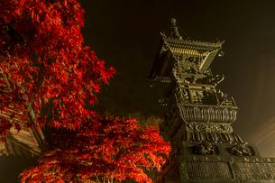 ライトアップされる紅葉と大山寺の宝篋印塔の写真素材 [FYI04730908]