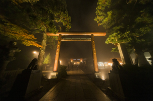濃霧の中に浮かび上がる阿夫利神社の鳥居の写真素材 [FYI04730915]