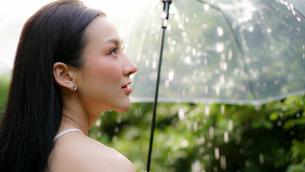 雨降りの公園でビニール傘をもっている女性の写真素材 [FYI04730938]