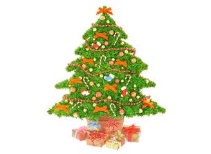 赤いリボンのクリスマスツリーとプレゼントの写真素材 [FYI04731314]