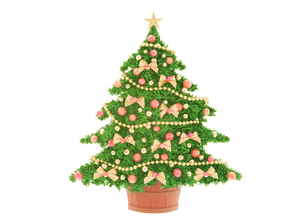 金色のリボンのクリスマスツリーの写真素材 [FYI04731316]