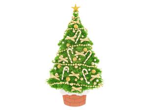 金色のリボンのクリスマスツリーの写真素材 [FYI04731322]