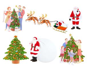 クリスマスツリーに飾り付けをする家族とサンタクロースの写真素材 [FYI04731333]