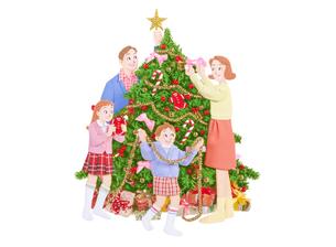 クリスマスツリーと家族の写真素材 [FYI04731358]