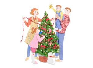 クリスマスツリーと家族の写真素材 [FYI04731360]