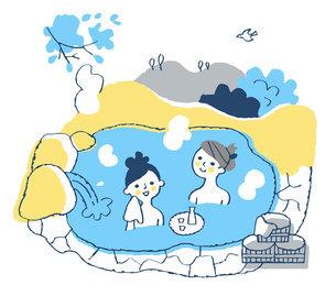 温泉に浸かる女性2人のイラスト素材 [FYI04731425]