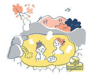 温泉に浸かる女性2人のイラスト素材 [FYI04731426]