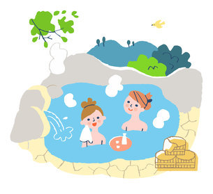 温泉に浸かる女性2人のイラスト素材 [FYI04731427]