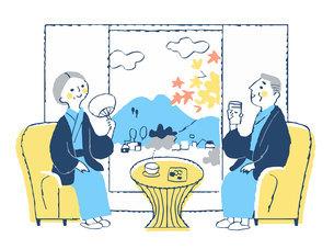 旅館でくつろぐ浴衣姿のシニア夫婦のイラスト素材 [FYI04731428]