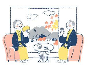 旅館でくつろぐ浴衣姿のシニア夫婦のイラスト素材 [FYI04731429]