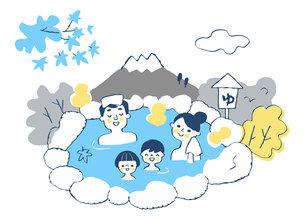 温泉に浸かる4人家族のイラスト素材 [FYI04731430]