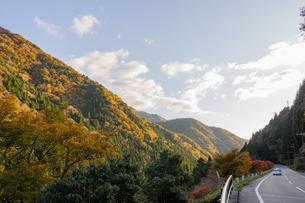 夕日に照らされる紅葉した山々に面する道路の写真素材 [FYI04731469]