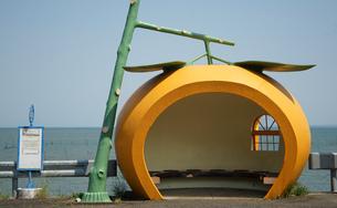 みかんの形のバス停の写真素材 [FYI04731794]