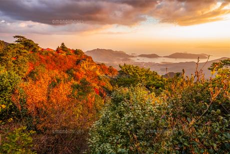 【香川県 小豆島】夕方の秋の寒霞渓の様子の写真素材 [FYI04732005]