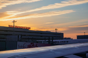 早朝の羽田空港 夜明け(第一ターミナル)の写真素材 [FYI04732138]
