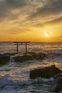 厳冬の海に明ける神磯の鳥居の写真素材 [FYI04732343]