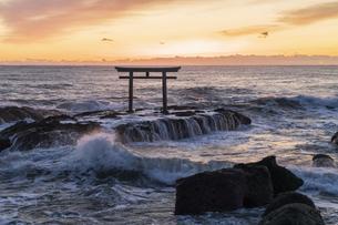 厳冬の海に明ける神磯の鳥居の写真素材 [FYI04732348]