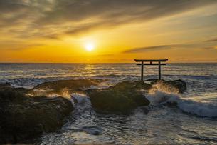厳冬の海に明ける神磯の鳥居の写真素材 [FYI04732353]