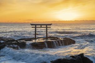 厳冬の海に明ける神磯の鳥居の写真素材 [FYI04732360]