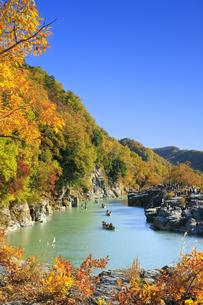 長瀞岩畳の紅葉の写真素材 [FYI04732459]