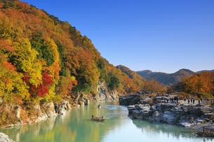長瀞岩畳の紅葉の写真素材 [FYI04732465]