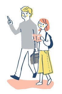 並んで街を歩く若いカップルのイラスト素材 [FYI04732502]