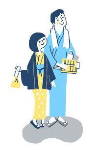 浴衣姿の若いカップルのイラスト素材 [FYI04732509]