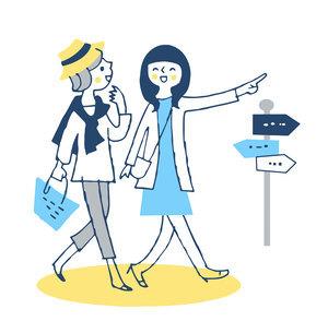 並んで街を歩く若い女性2人のイラスト素材 [FYI04732511]