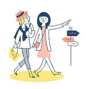 並んで街を歩く若い女性2人のイラスト素材 [FYI04732512]