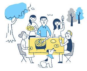 屋外でバーベキューを楽しむ家族のイラスト素材 [FYI04732513]