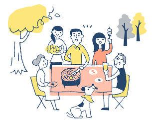 屋外でバーベキューを楽しむ家族のイラスト素材 [FYI04732514]