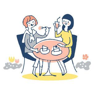 オープンカフェでくつろぐ2人の若い女性のイラスト素材 [FYI04732516]