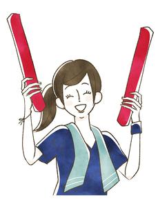 スポーツ観戦-応援する女性のイラスト素材 [FYI04732582]