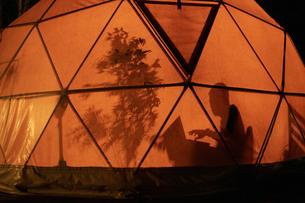 テント内のシルエットの写真素材 [FYI04732879]